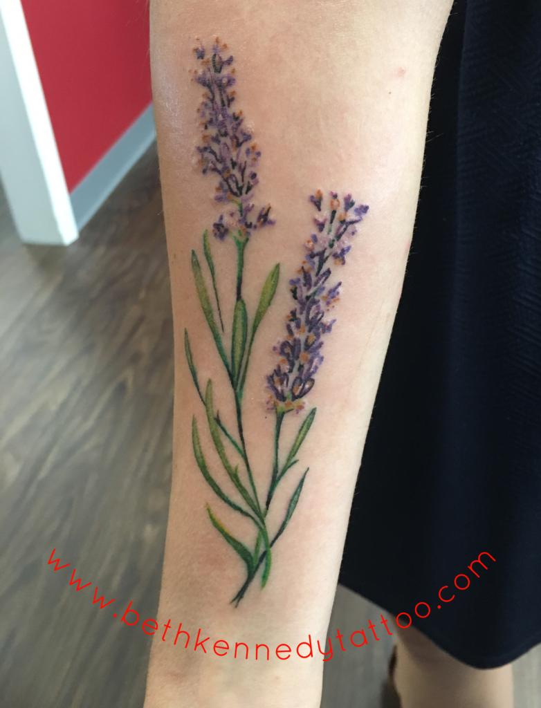vintage botanical lavendar floral tattoo delicate